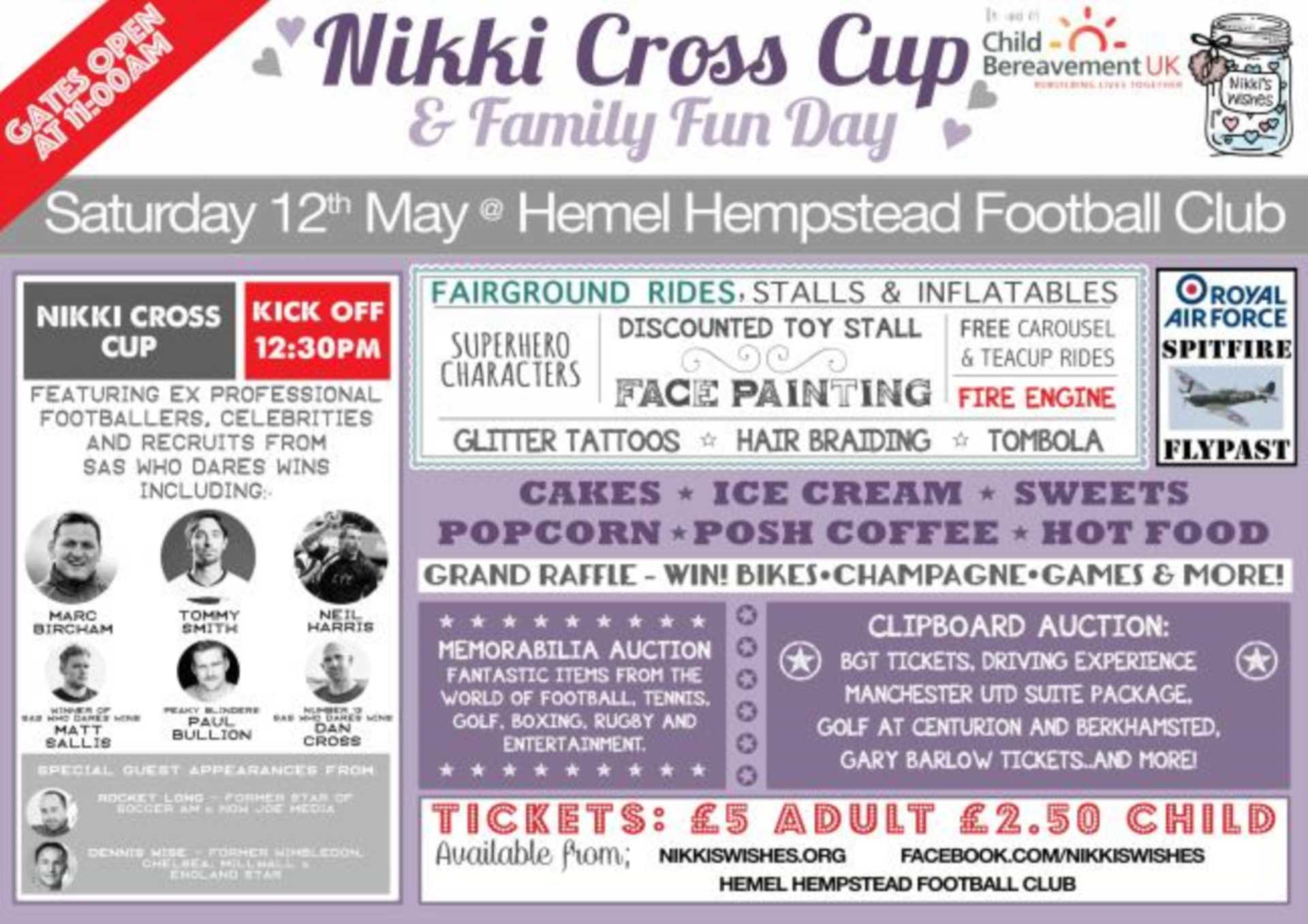 Nikki Cross - Child Bereavement UK - 12th May 2018 - Hemel Hempstead football club, HP2 4HW