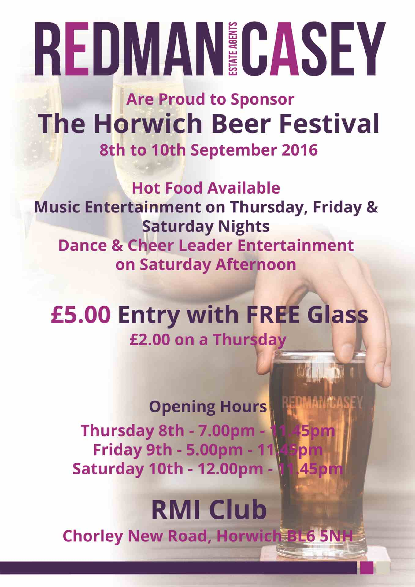 Horwich Beer Festival - Thurs 8th - Sat 10th September