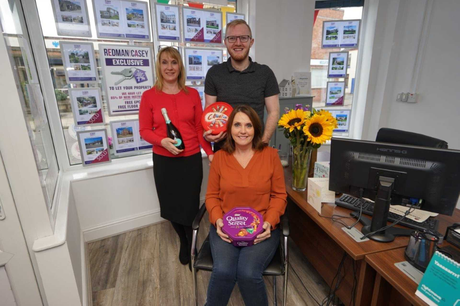 Delighted to receive flowers, prosecco and chocolates