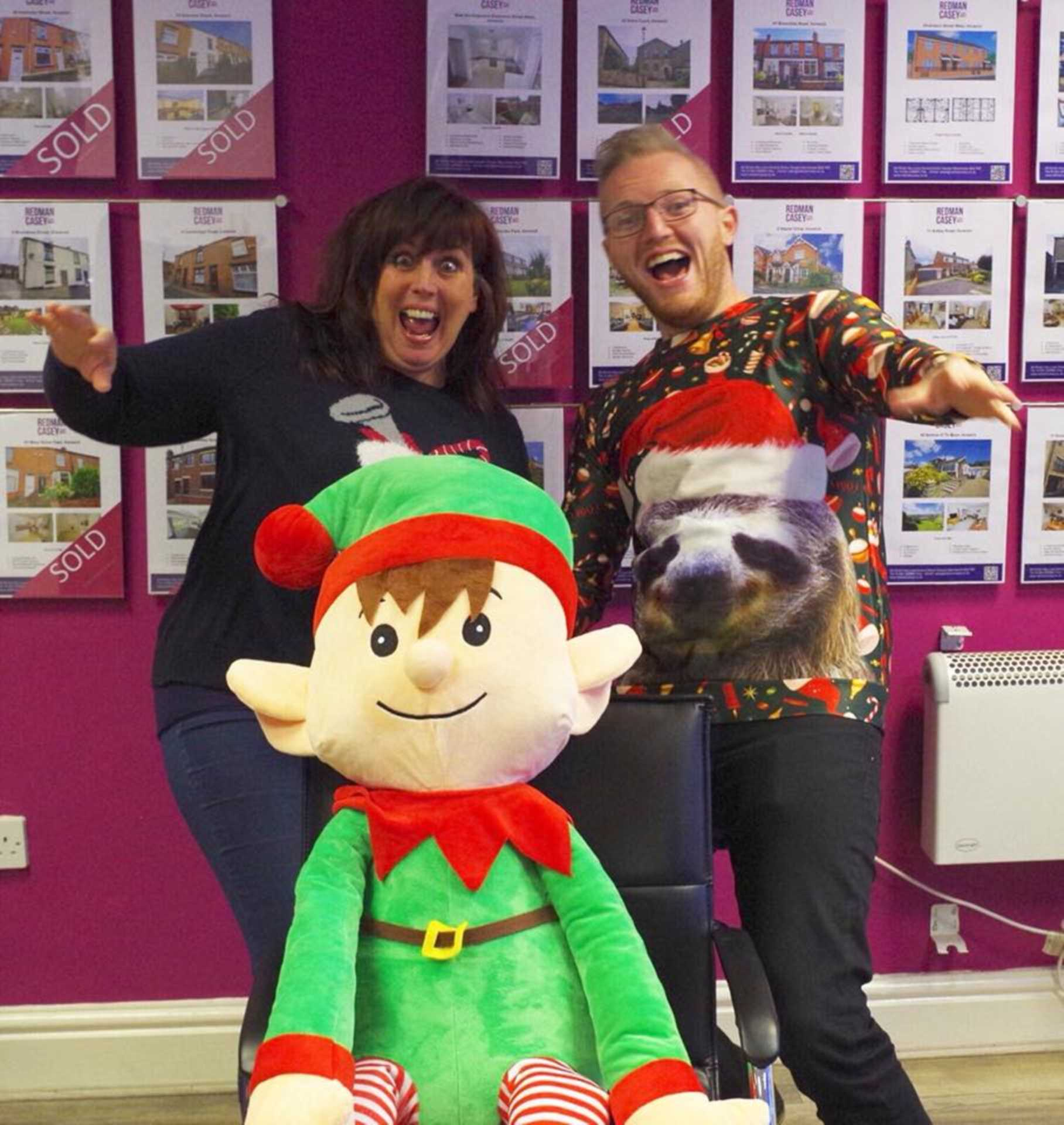 More fun with our elf whilst raising money for Bolton Hospice