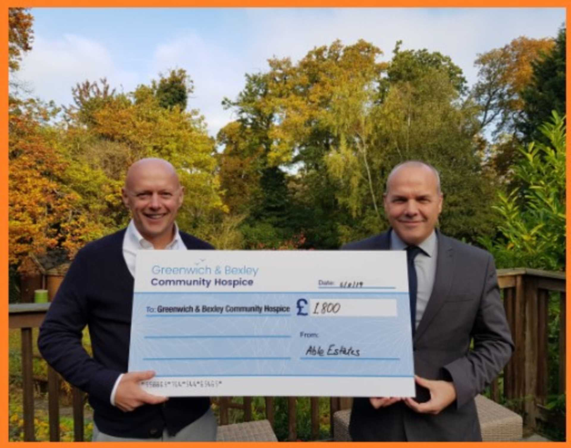 Able Estates raise £1800.00 for Greenwich & Bexley Community Hospice