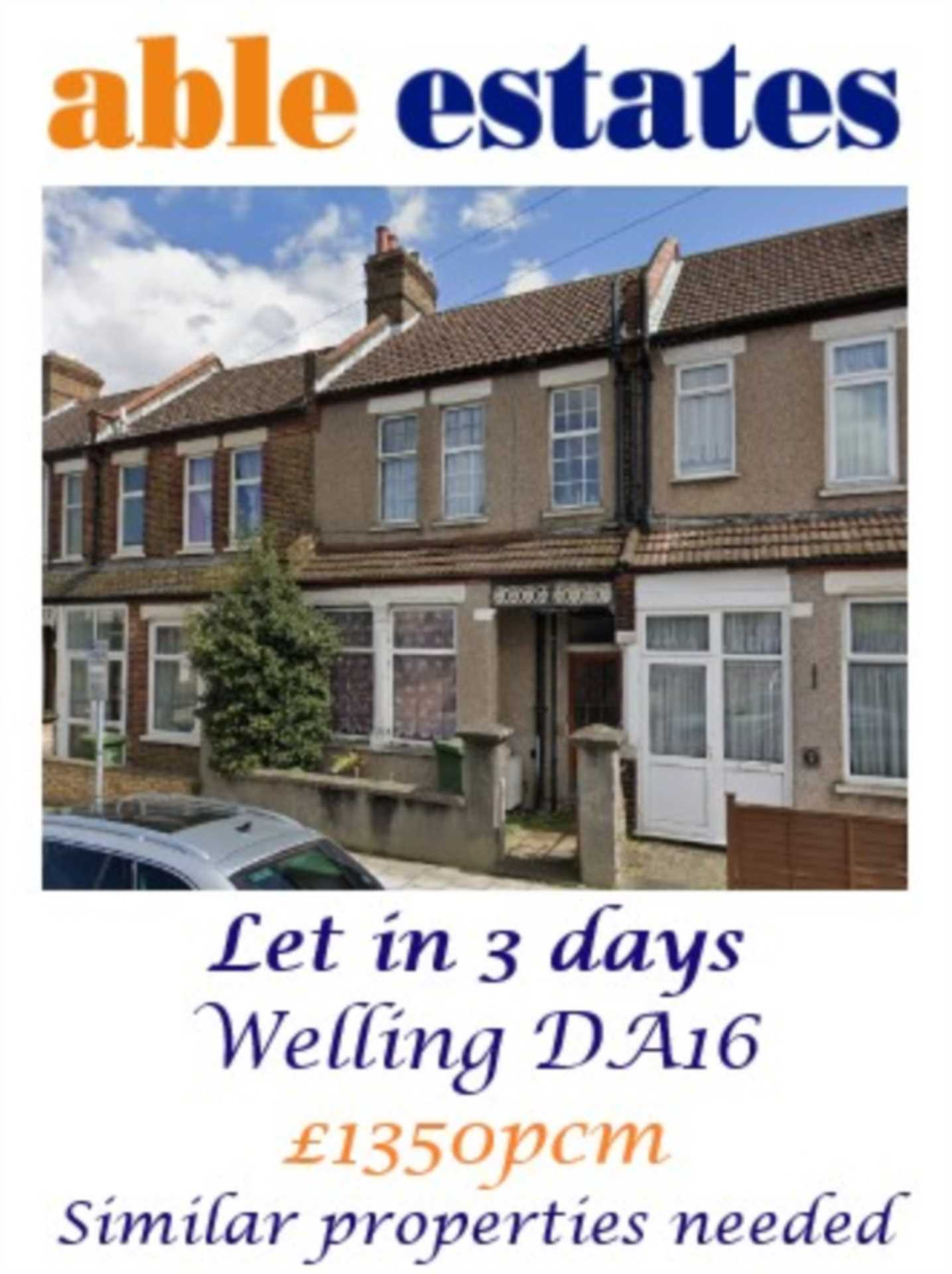 LET WITHIN 3 DAYS! Similar Properties needed!