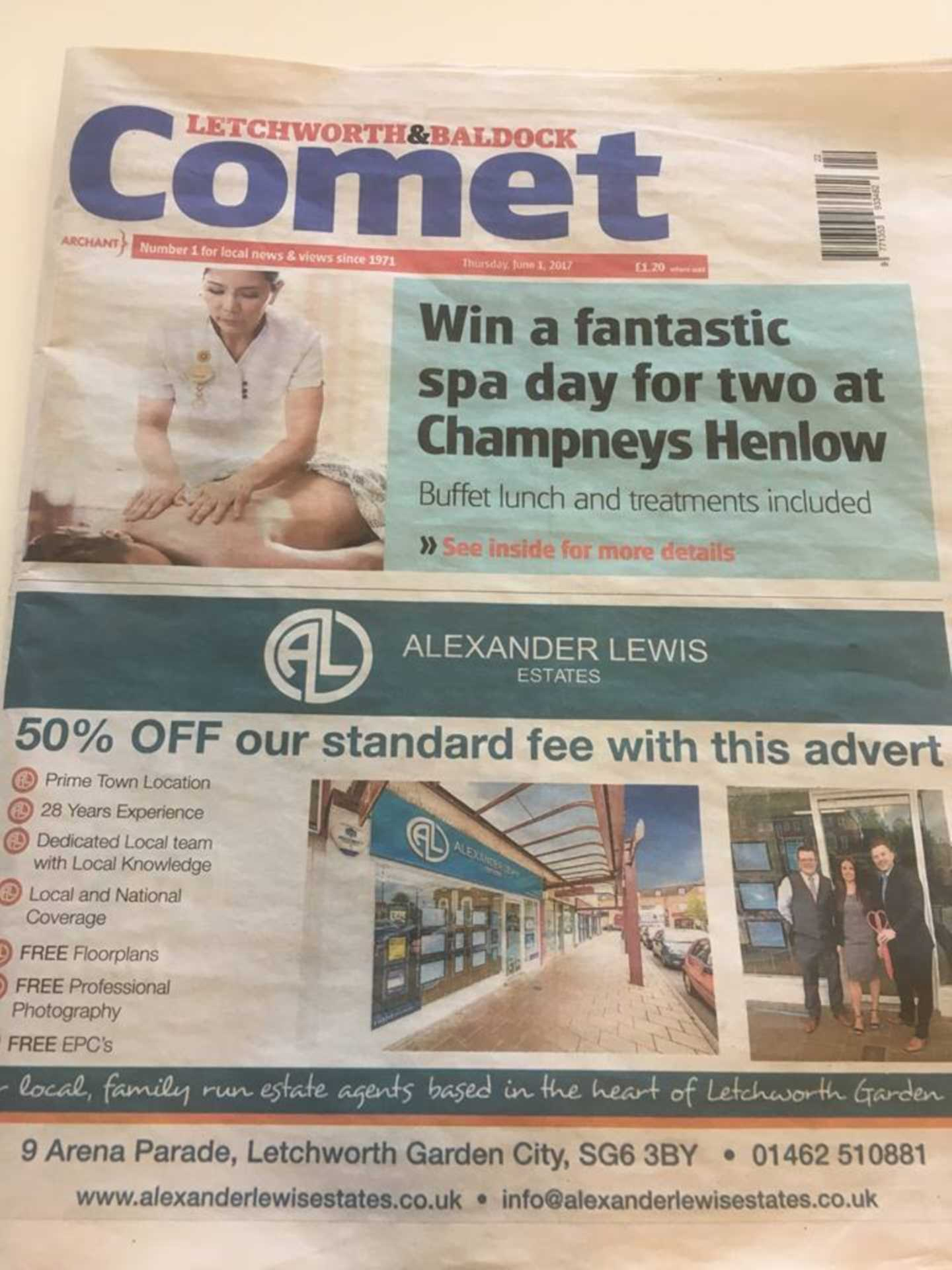 Front page of the Comet Newspaper