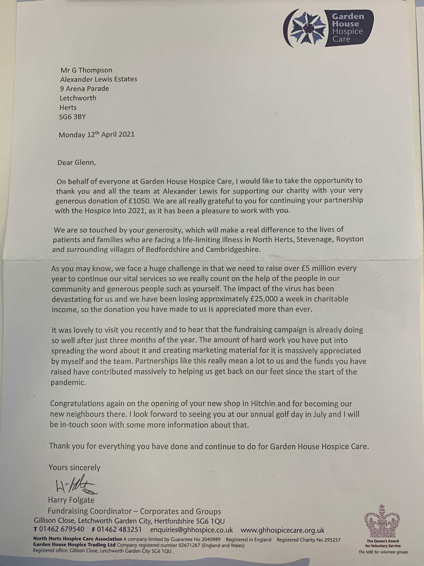 Another letter from the Garden House Hospice