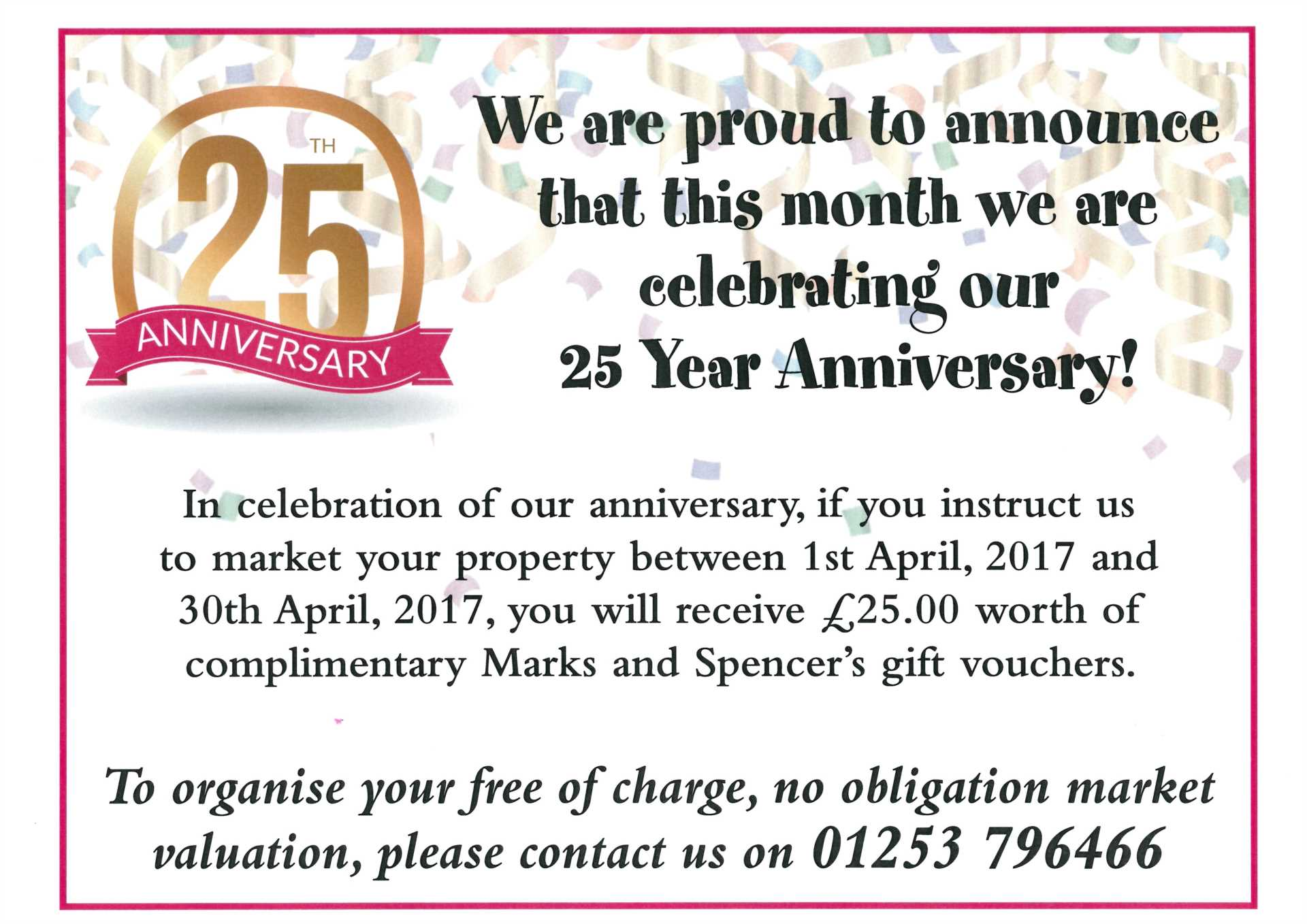 DUNDERDALE ASQUITH ARE PLEASED TO ANNOUNCE OUR 25 YEAR ANNIVERSARY THIS MONTH!