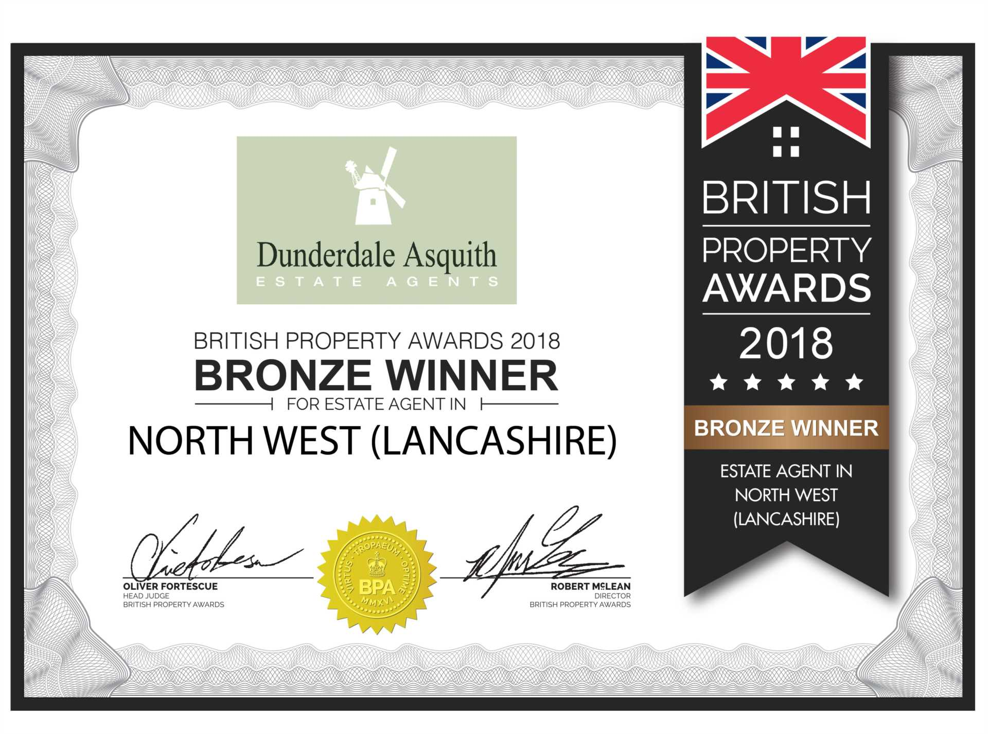 We have just been awarded Bronze Winner British Property Awards North West Lancashire Region 2018 !!!