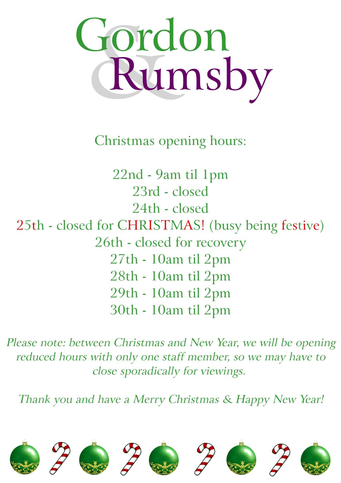 Christmas Opening Hours 2018!