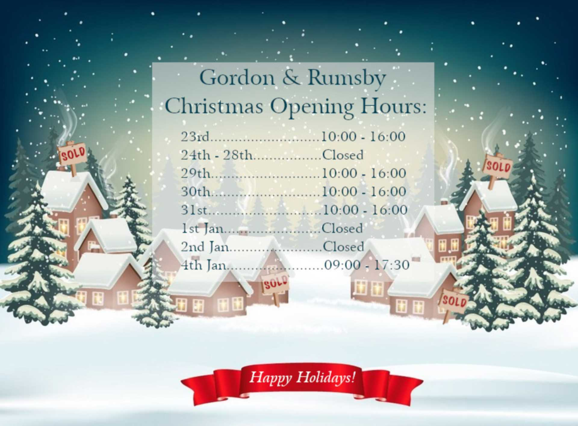 Christmas Opening Hours 2020!