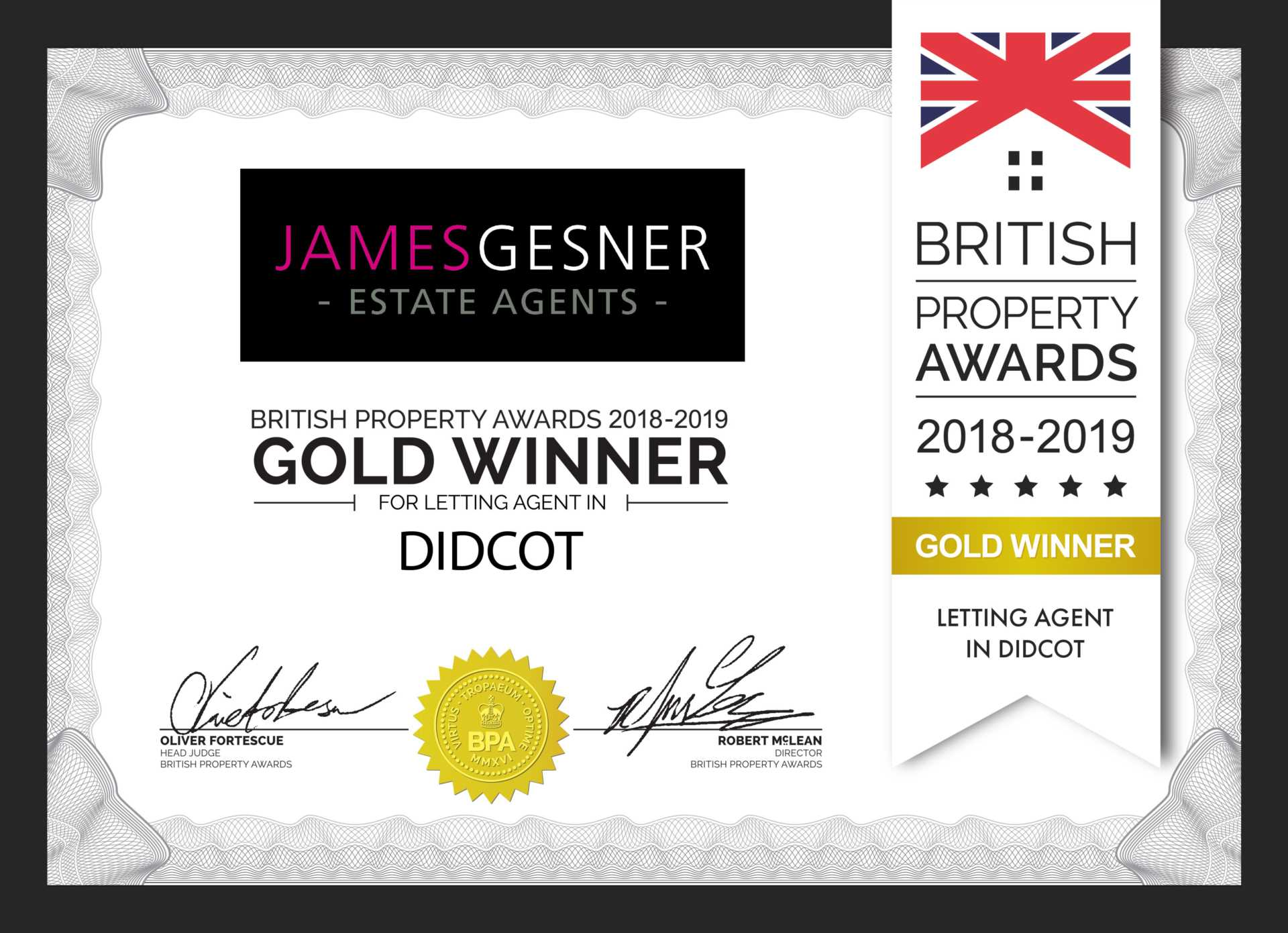 British Property Awards Lettings Winner 2018!