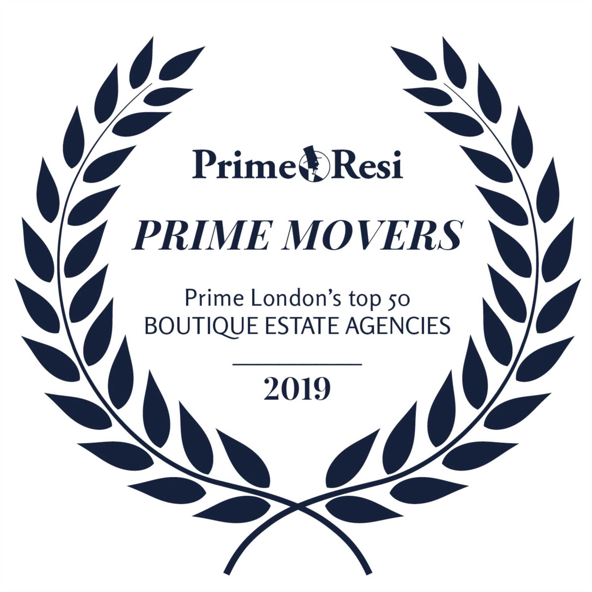 Jo Webster have again been listed in Prime Resi`s top 50 Boutique estate agents in 2019
