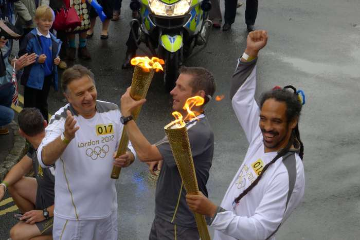 Olympic Flame Passes Wallingford's Main Streets