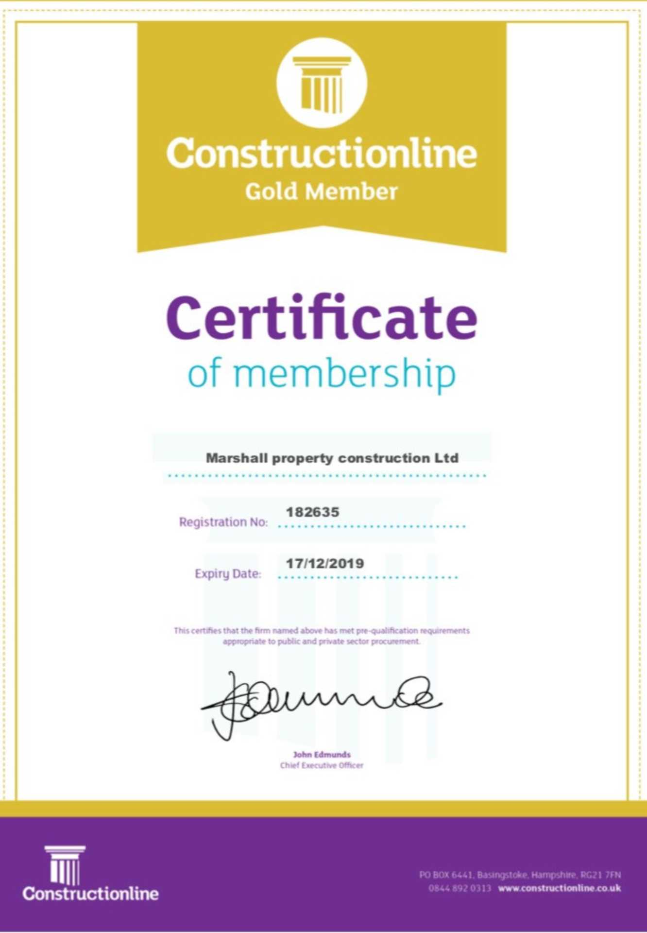 Marshall Property Construction achieves Constructionline Gold