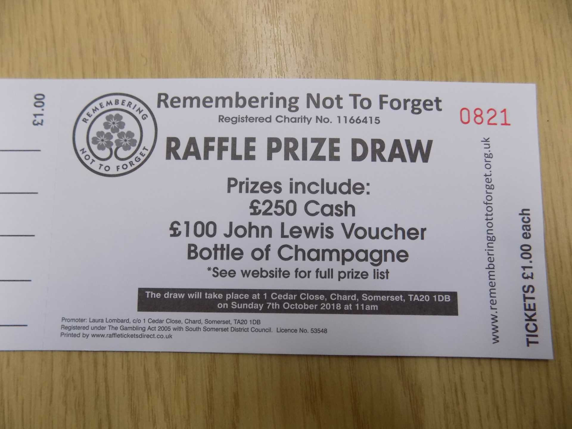 Remembering Not To Forget - Raffle Prize Draw.